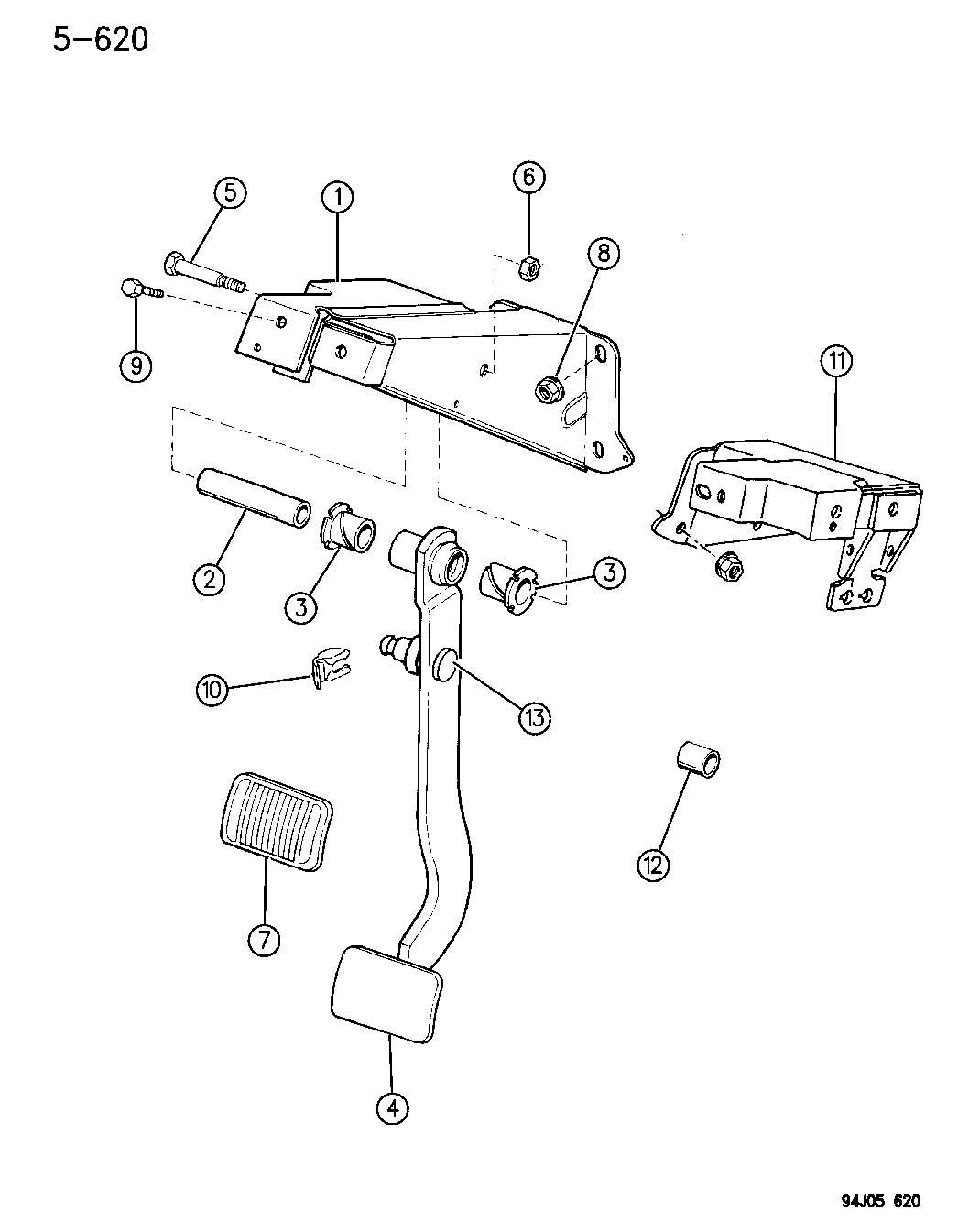 Dodge Viper Pad. Pedal. Brake, left, mounting. Dbb