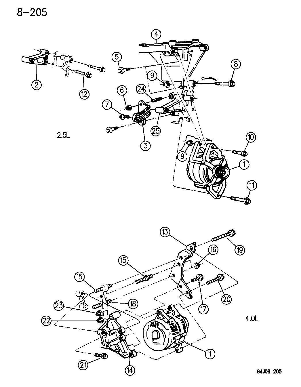 Wrangler Alternator Generator And Mounting 2 5 Amp 4 0 Engine