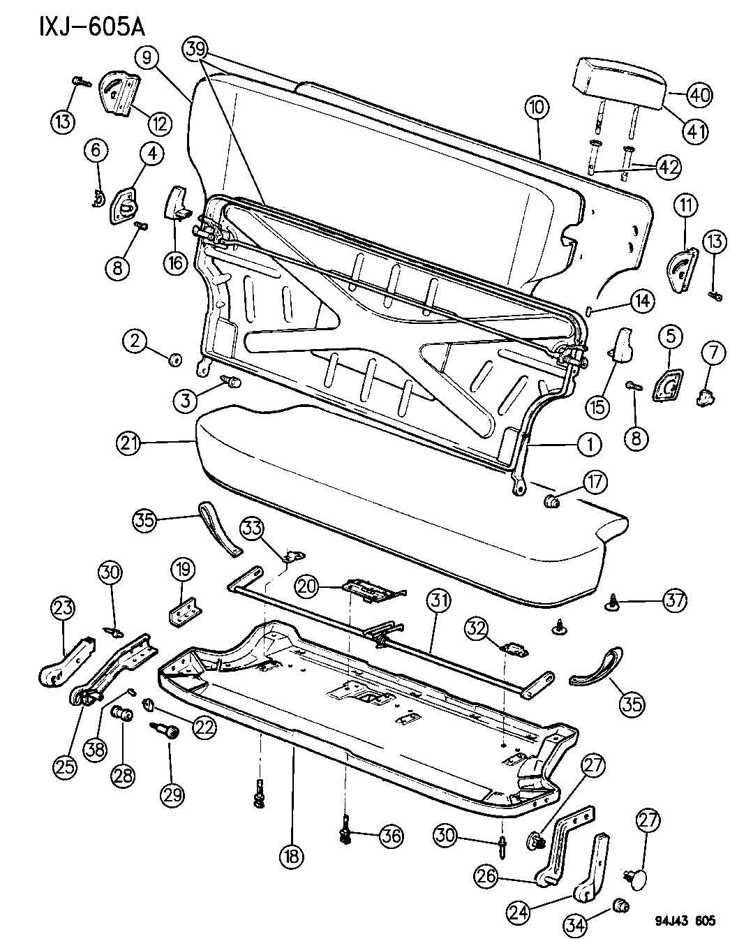 Jeep Grand Cherokee Cylinder. Headrest. With latch. Trim
