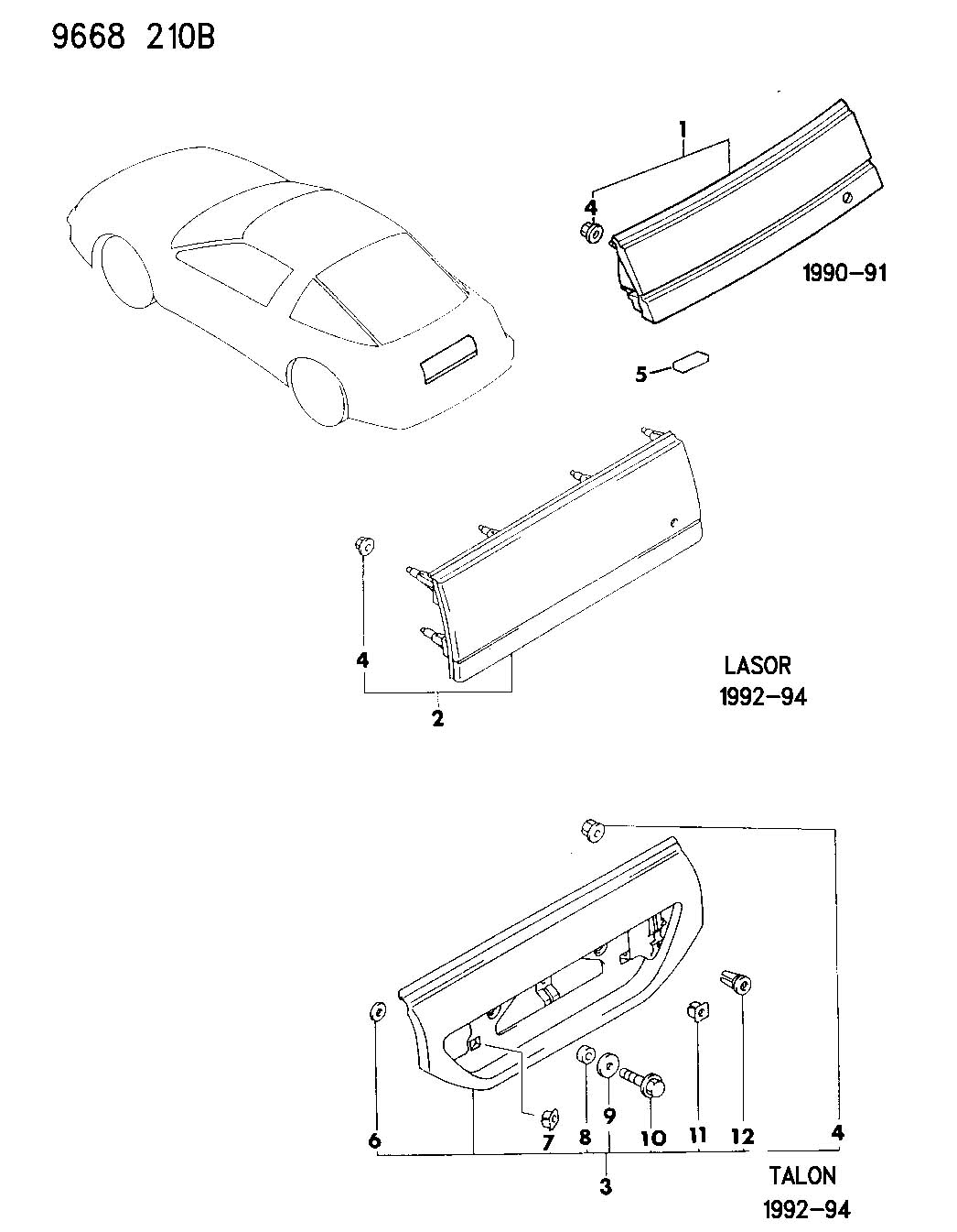 Service manual [1990 Plymouth Laser Digram For A Rear