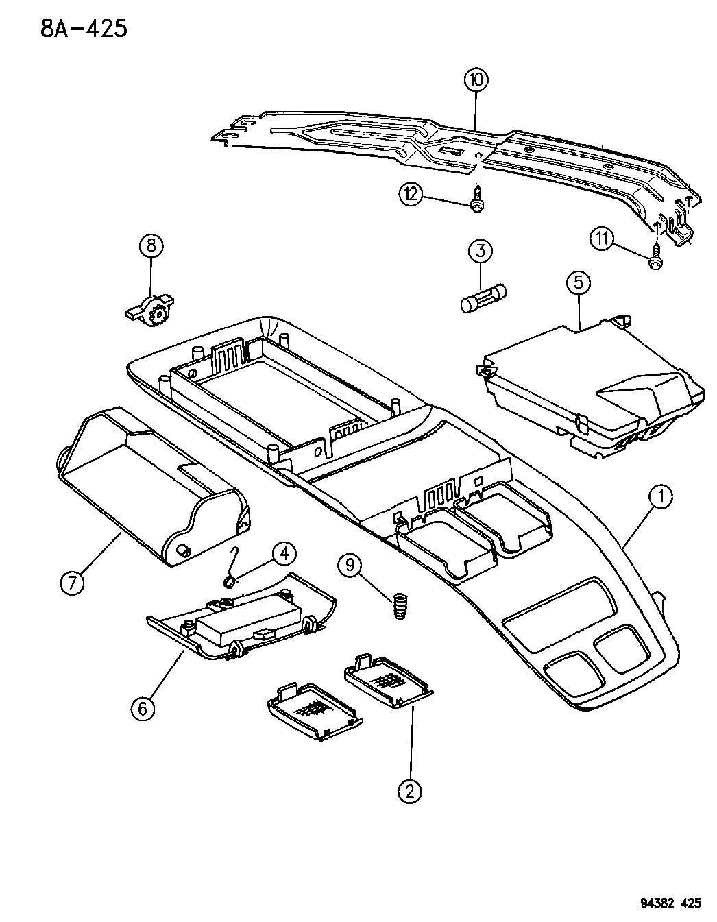 1994 Dodge Dakota OVERHEAD CONSOLE N-BODY
