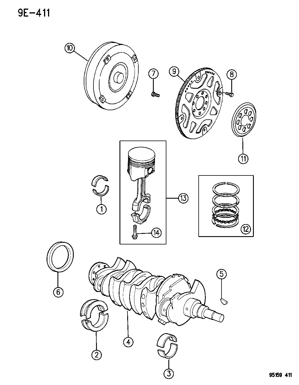 Dodge Stratus Bearing kit. Crankshaft thrust. 025mm