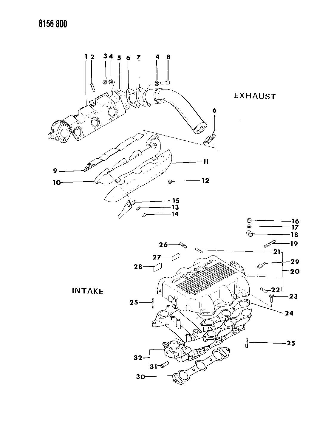 Plymouth Grand Voyager Gasket. Intake plenum. Efa