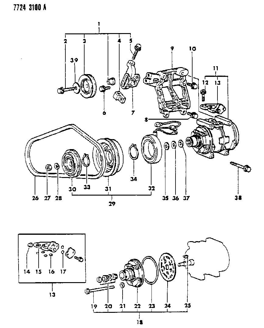Chrysler Sebring Snap ring. A/c compressor