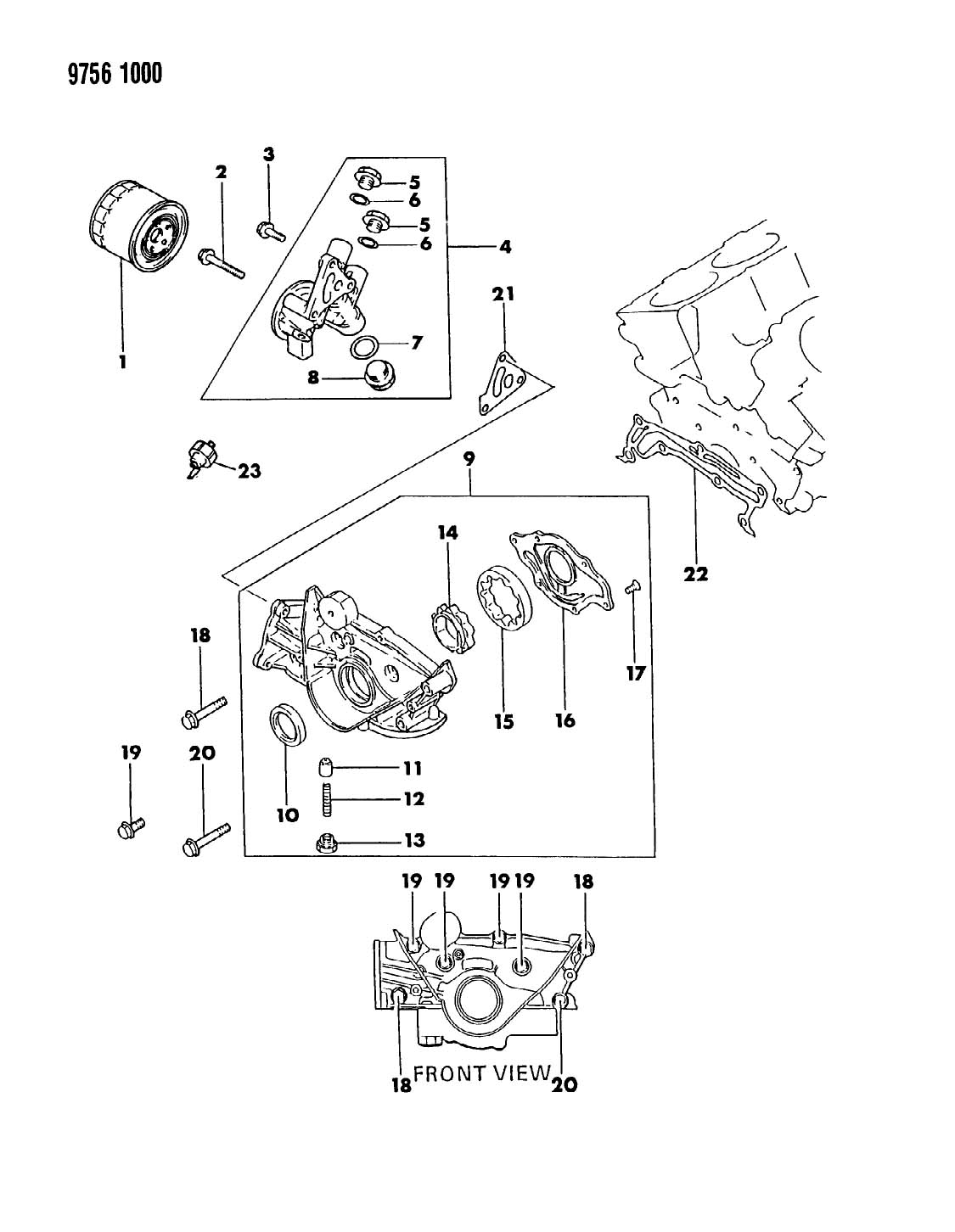1989 Dodge OIL PUMP & OIL FILTER RAIDER 3.0 L ENGINE