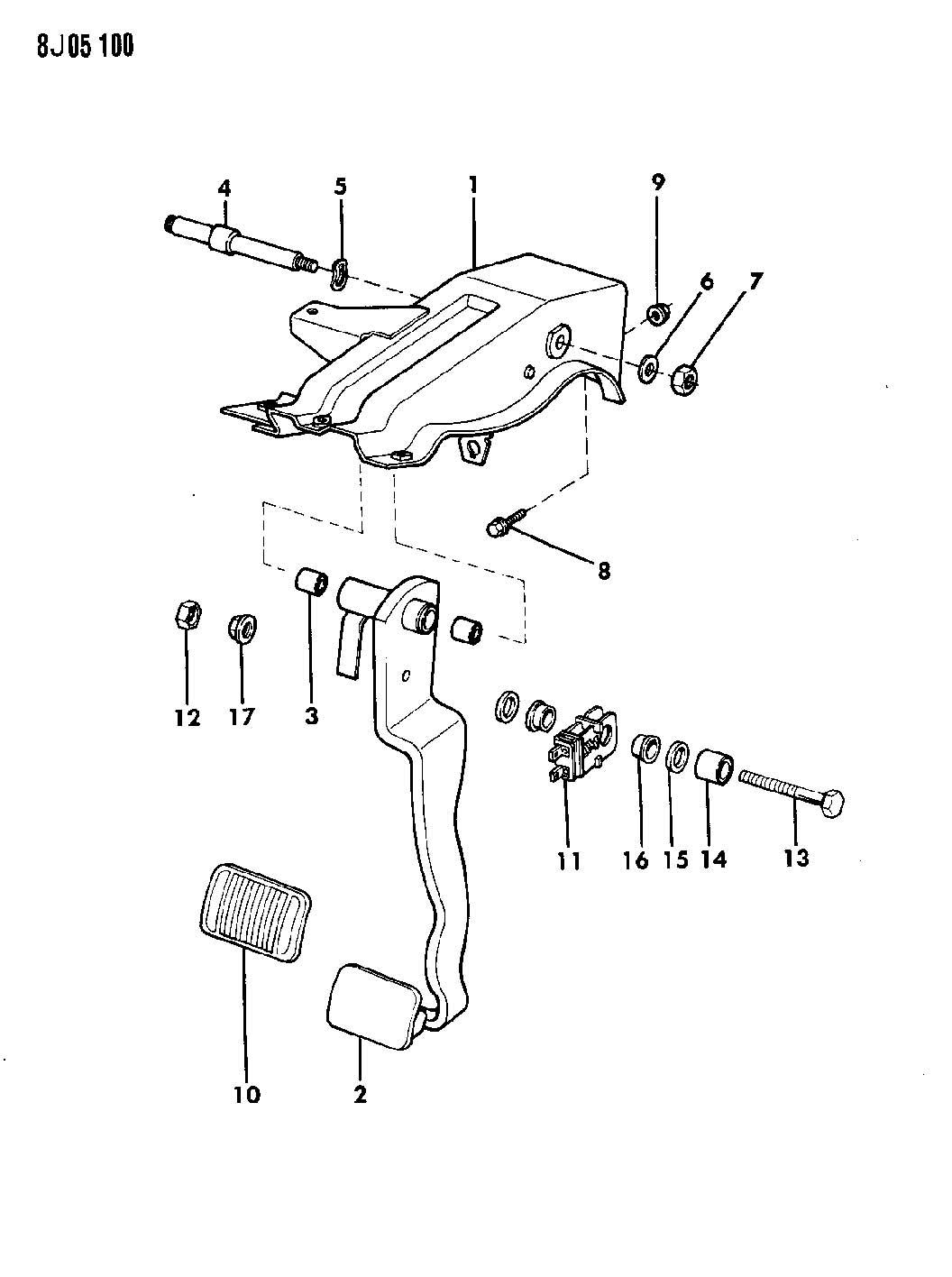 1987 Jeep Wrangler PEDAL, BRAKE WRANGLER, YJ