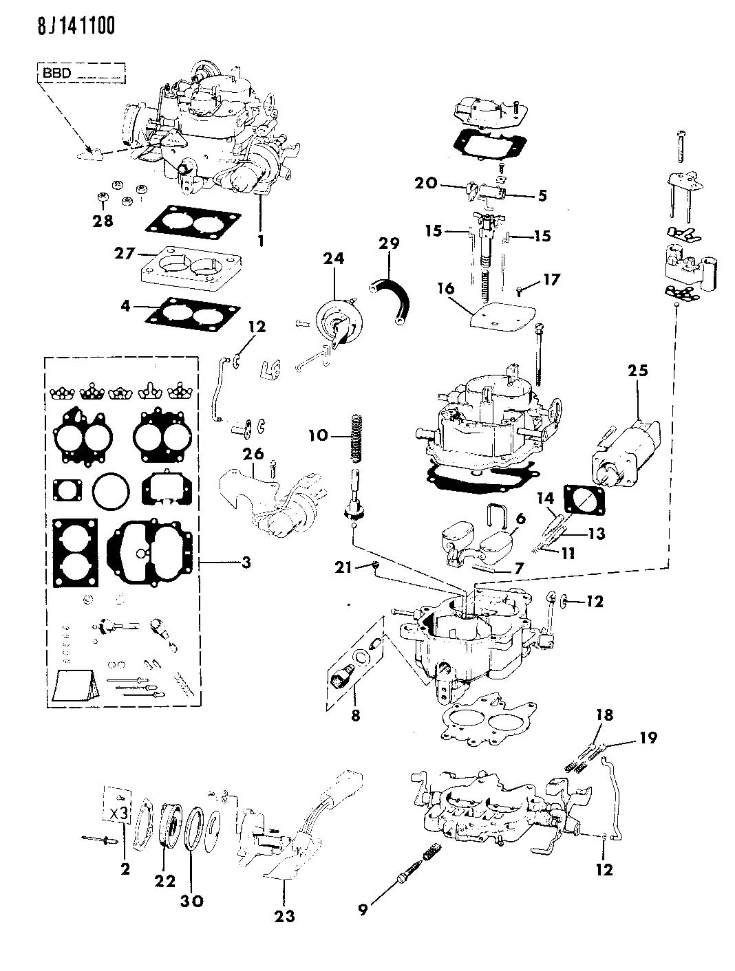 CARBURETOR AND COMPONENT PARTS 4.2L ENGINE WRANGLER, YJ