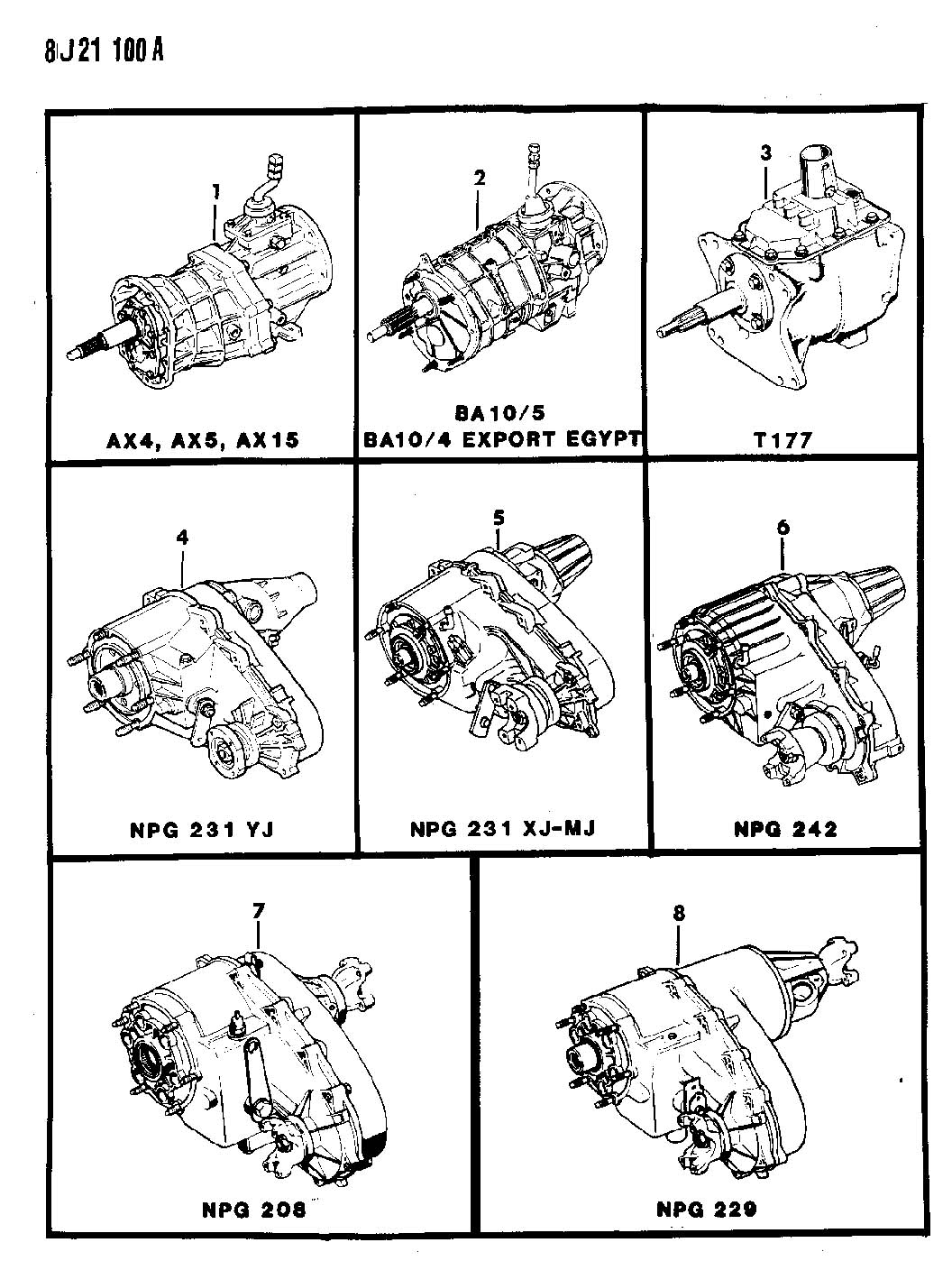 1988 Jeep MANUAL TRANSMISSION AND TRANSFER CASE ASSEMBLIES