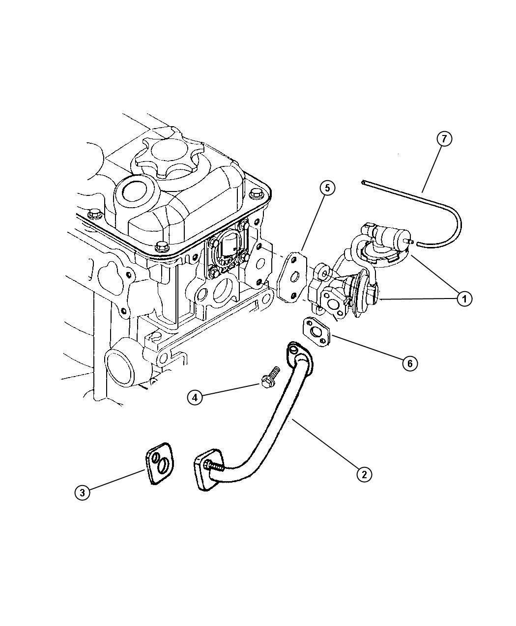 2008 Jeep Wrangler Seal. Egr tube. W/plastic manifold