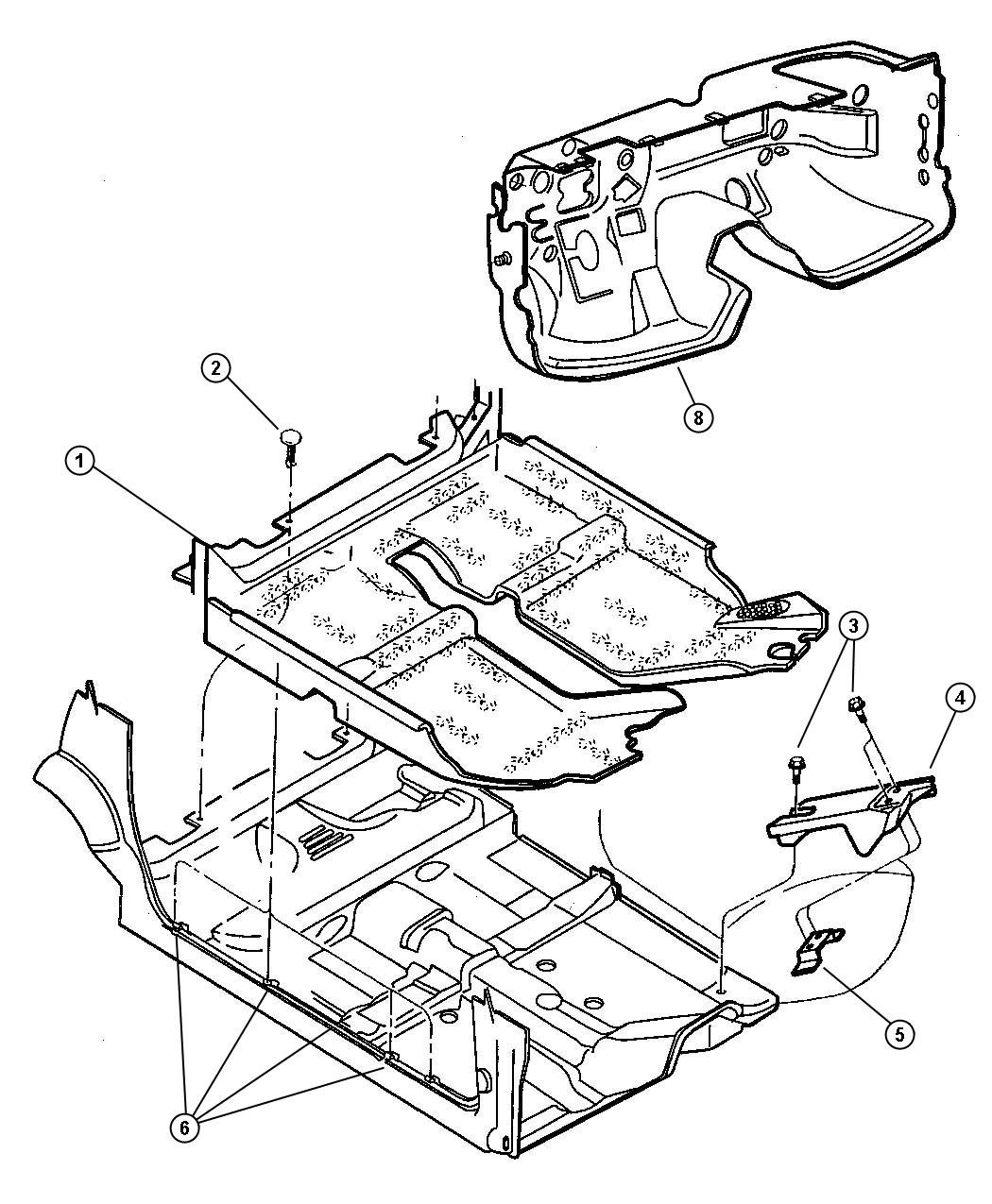 2000 Dodge Grand Caravan Clip, nameplate, nut. Dash panel
