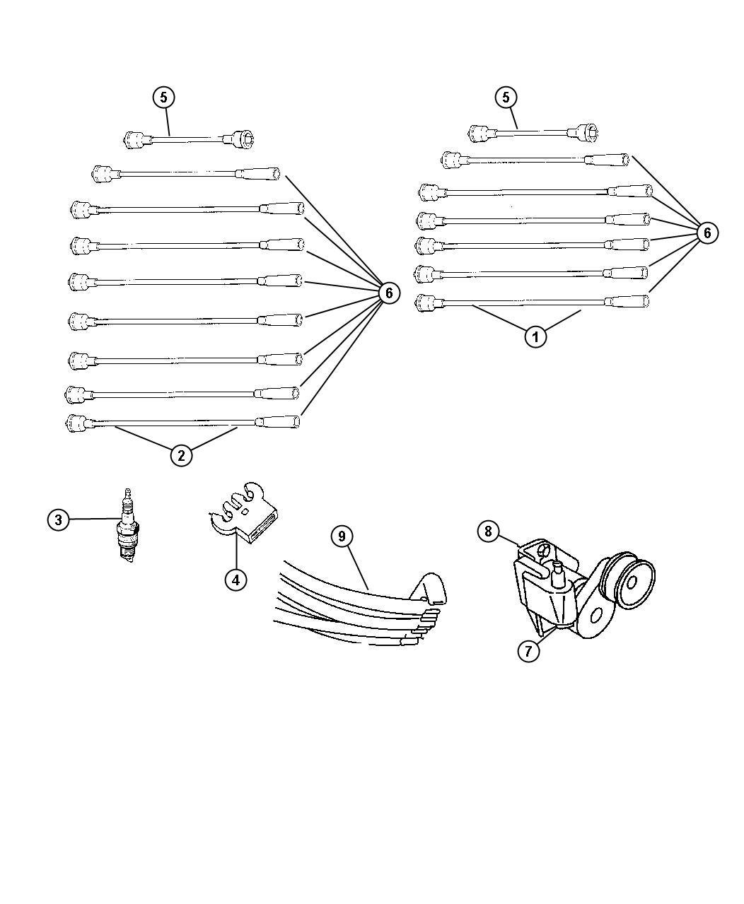 Dodge Durango Cable. Ignition. # 4, #6, [#4], [#6], 5.2l 5