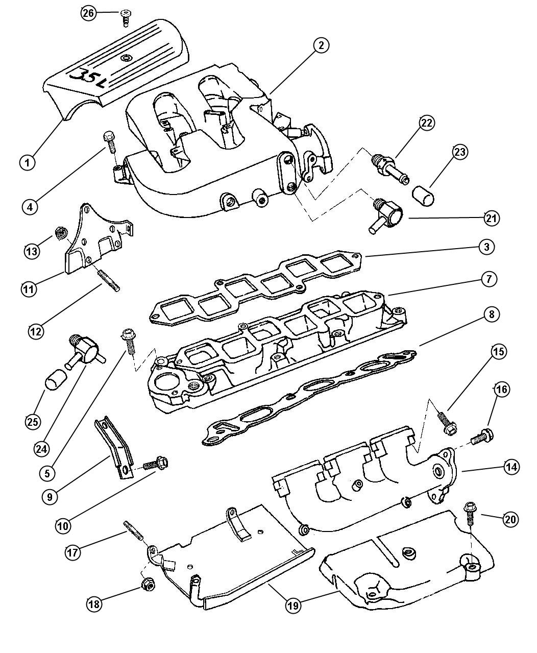 1997 Chrysler Lhs Manifold, Intake And Exhaust 3.5L Engine.