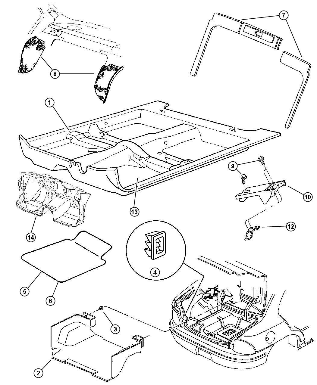 Dodge Stratus Exhauster Interior Trim Panel Quarter