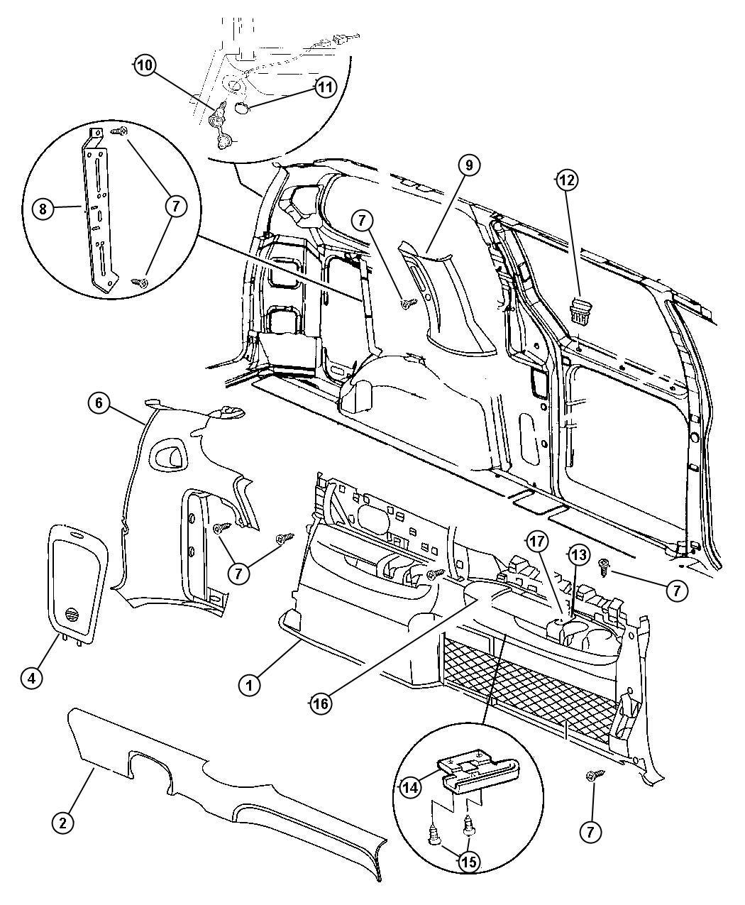 Dodge Caravan Se 3 3l V6 A T Panel Quarter Trim