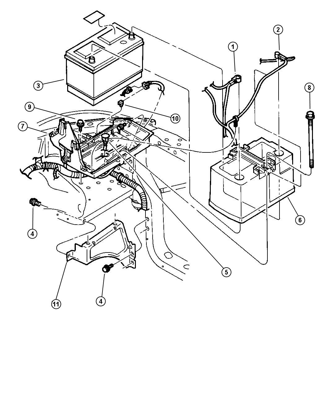 Jeep Cherokee Cable Battery Positive 3 9l 5 2l 5