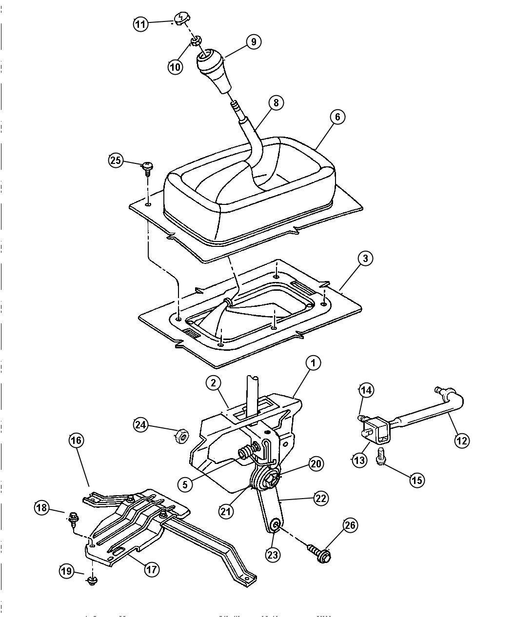 Dodge Ram 3500 Rod. Gear shift control. Transfer case
