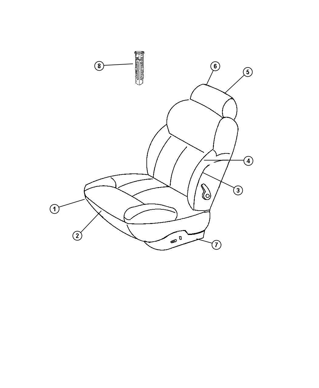 Chrysler Lhs Shield. Seat adjuster. Left. Power. Suede