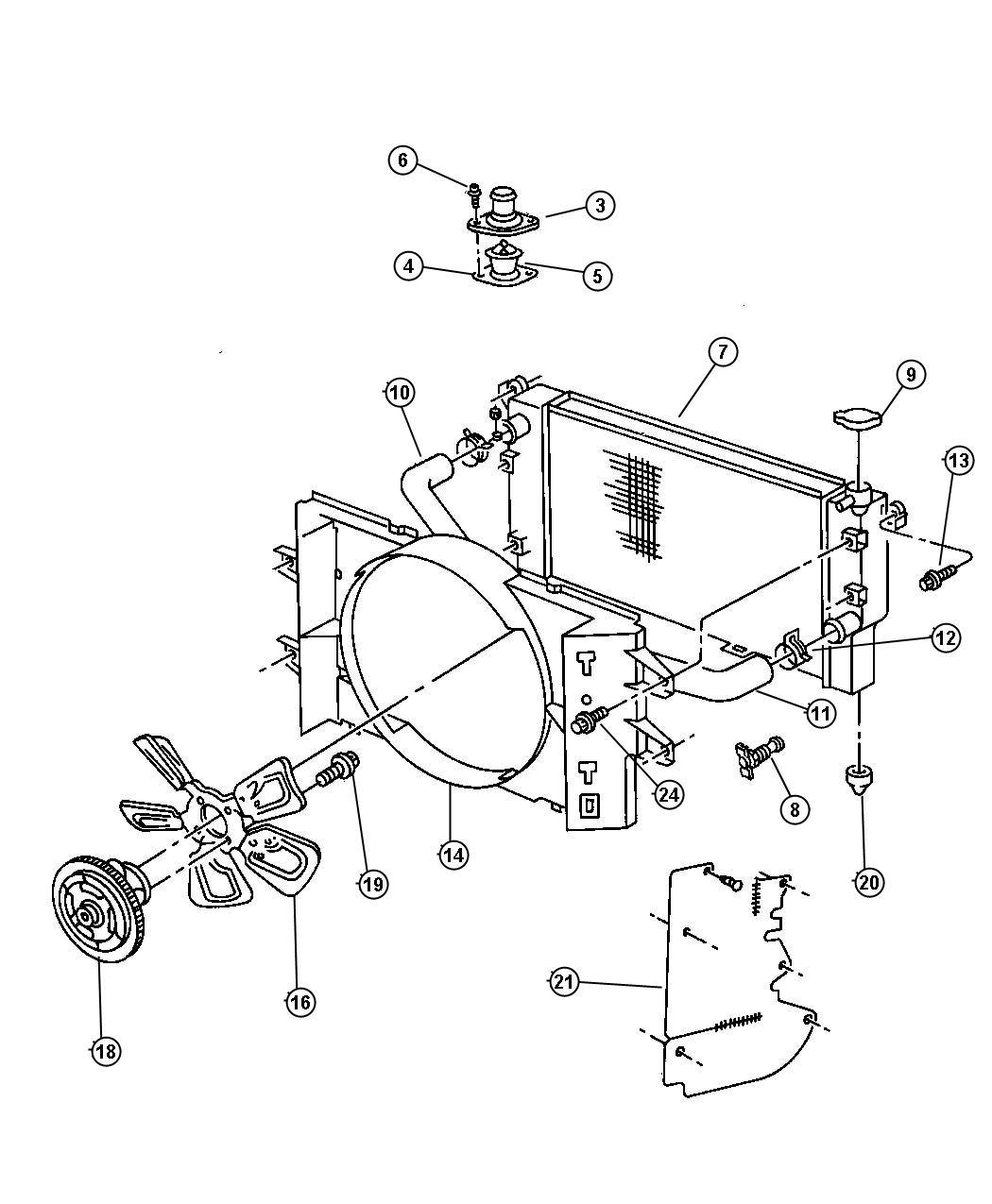 1991 Dodge Dakota Housing. Thermostat. Max, wmax, dps