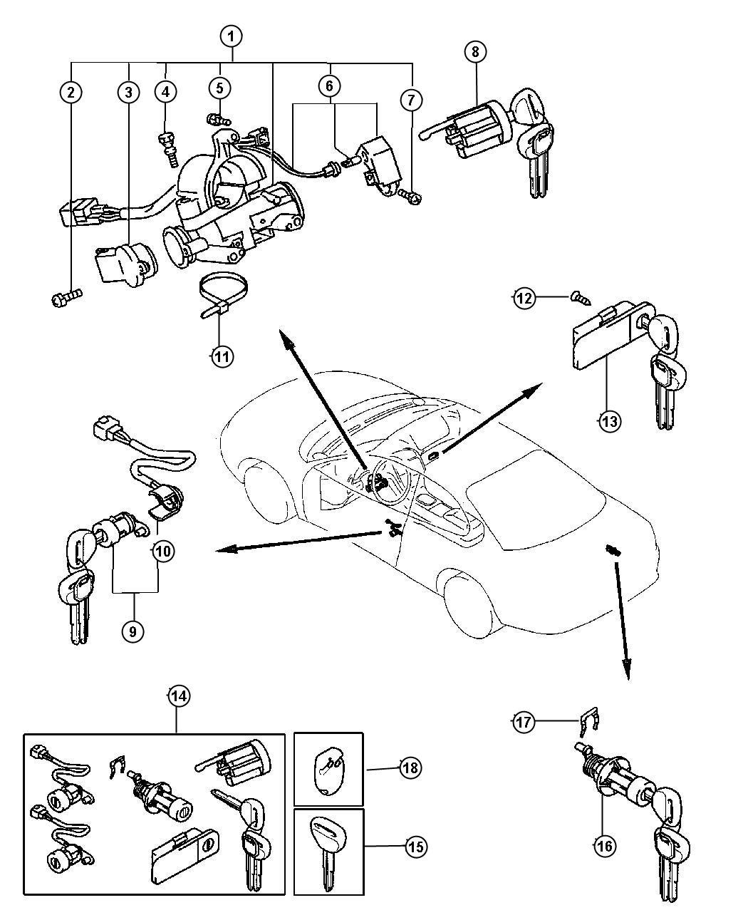 Chrysler Sebring Cylinder Deck Lid Lock