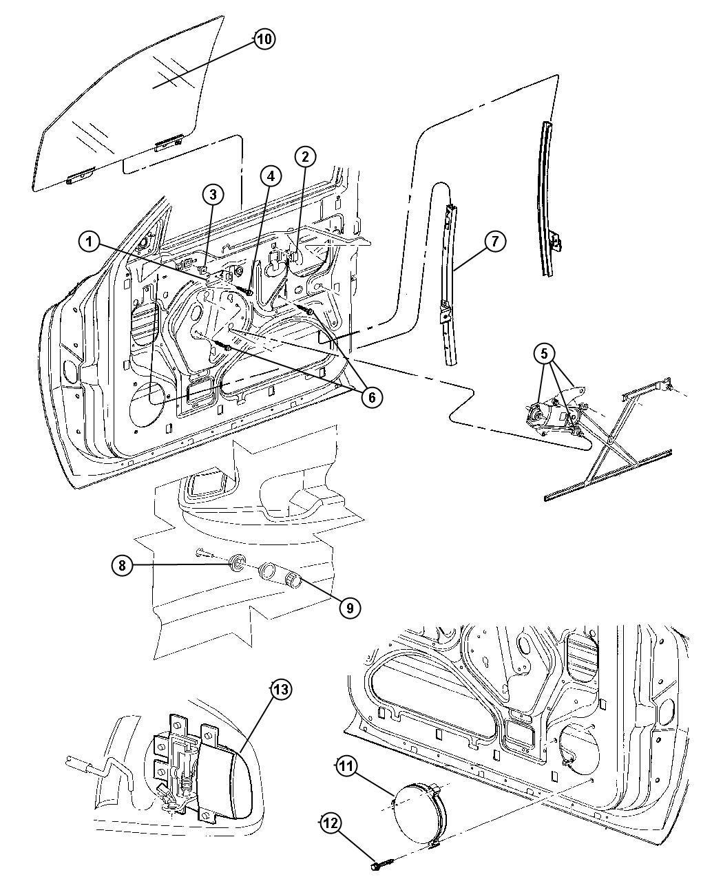 Chrysler Crossfire Handle. Window regulator. Manual, used