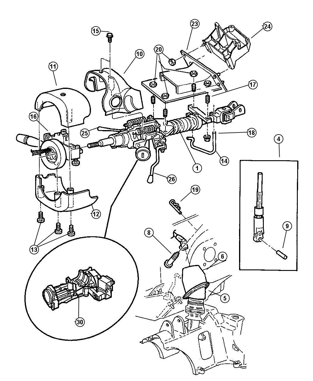 Dodge Caravan Shroud. Steering column. W/o tilt column