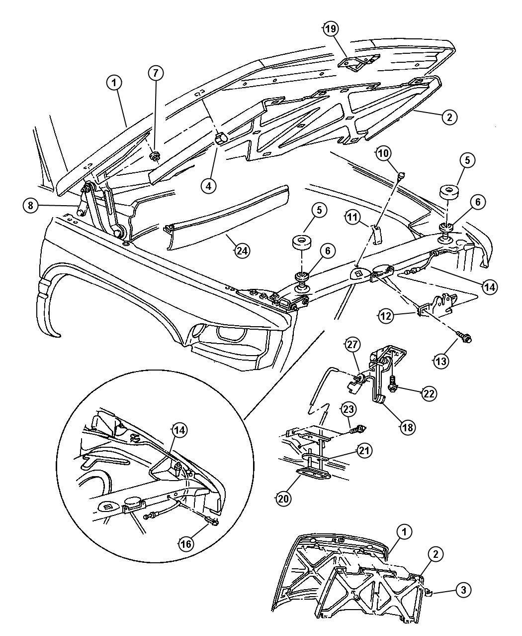 1999 Dodge Ram 1500 Catch. Hood safety. Safety catch