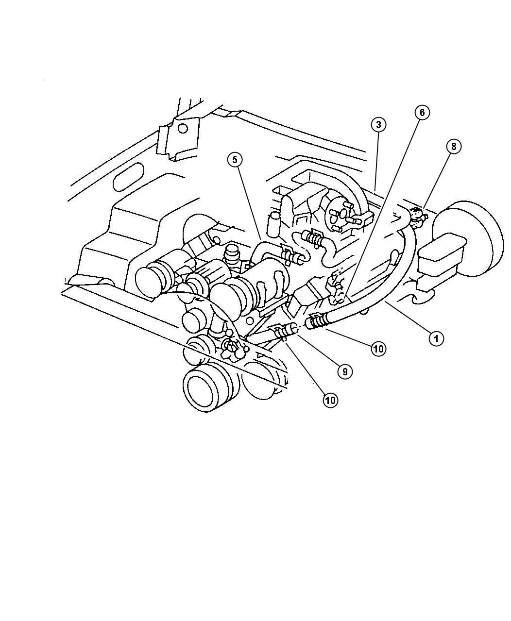 Dodge Ram 2500 Hose. Heater. W/tube water pump to hose