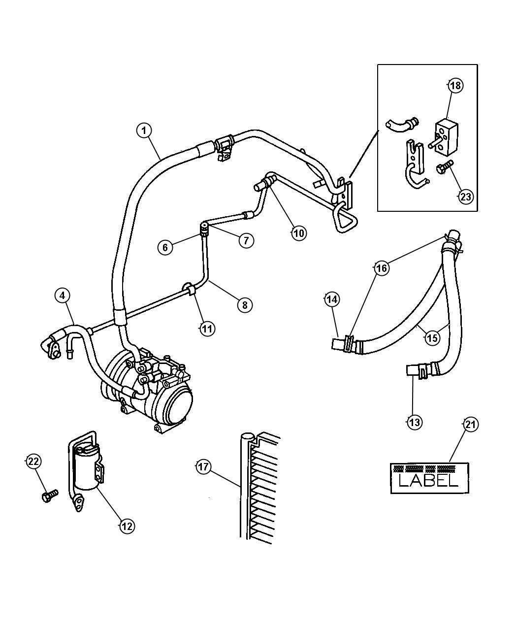 Dodge Grand Caravan Hose. Heater. Core to pump