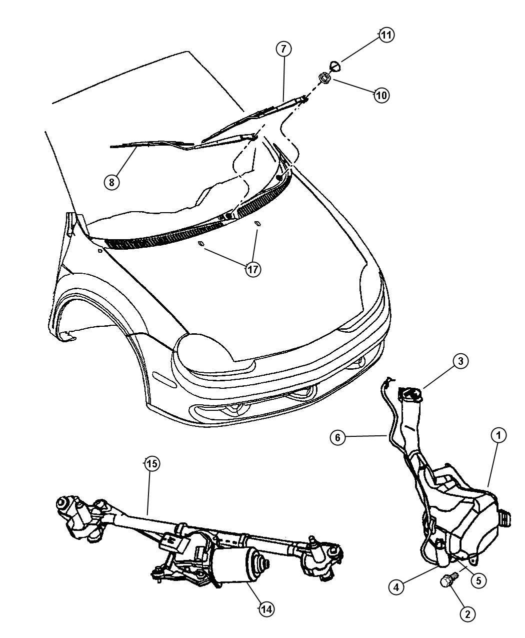Dodge Neon Grommet Windshield Washer Pump