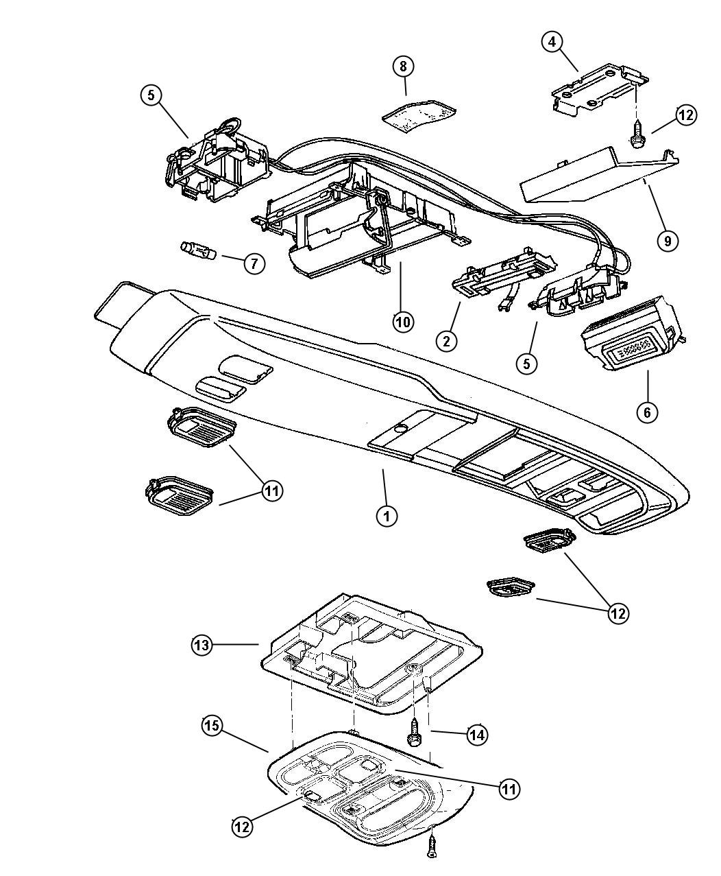 Jeep Grand Cherokee Wiring. Overhead console. Console