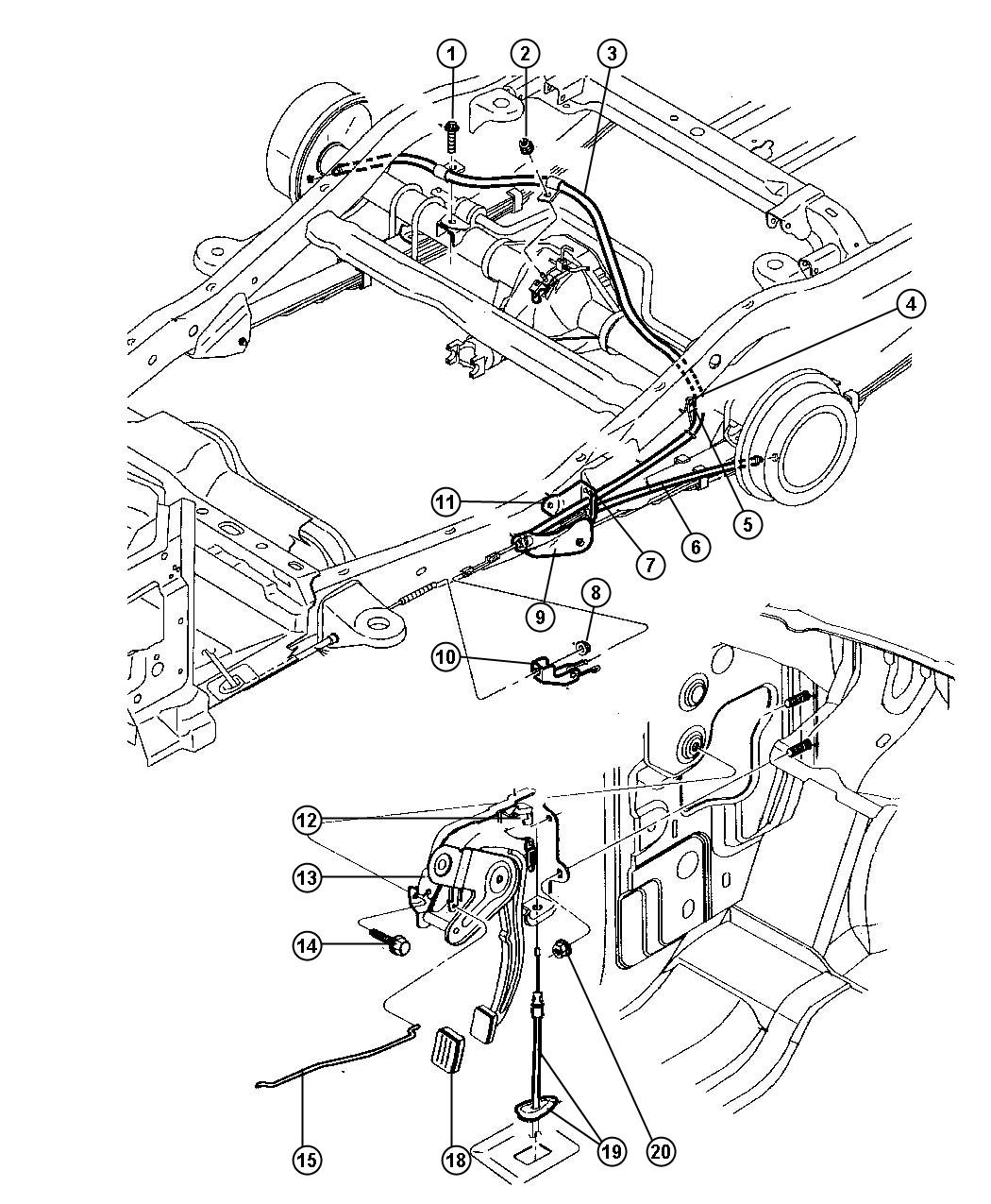Dodge Durango Guide Parking Brake Cable Right Rear