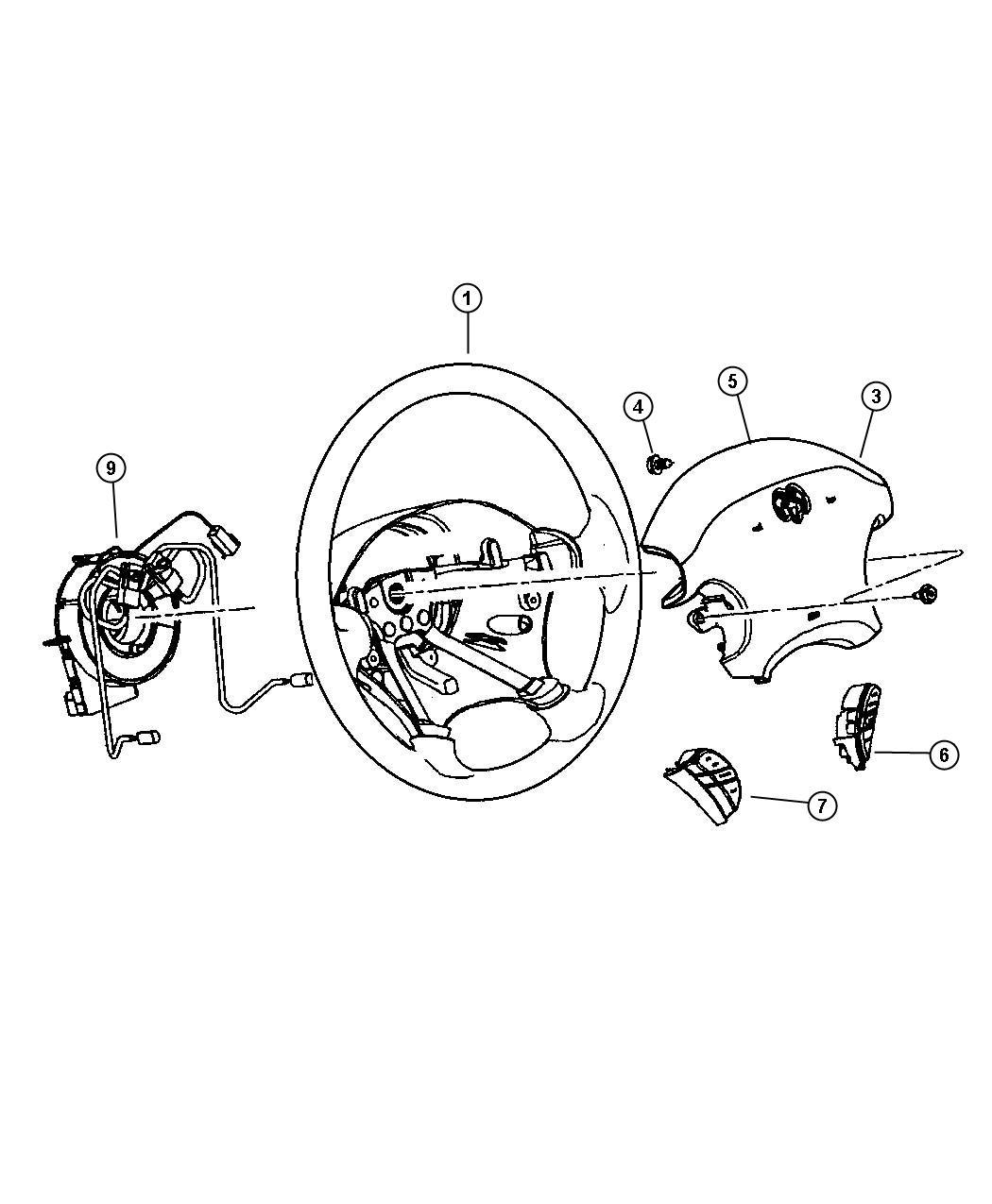 Dodge Stratus Air bag. Driver. [t5] mexico only. Trim