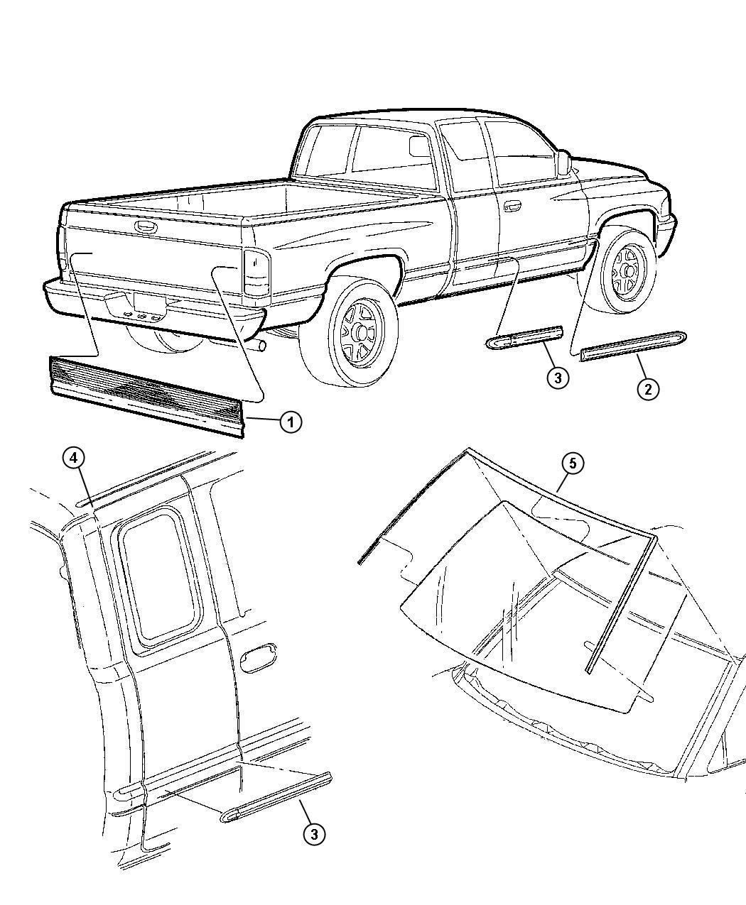 2001 Dodge Ram 1500 Molding. Left. Roof quarter joint