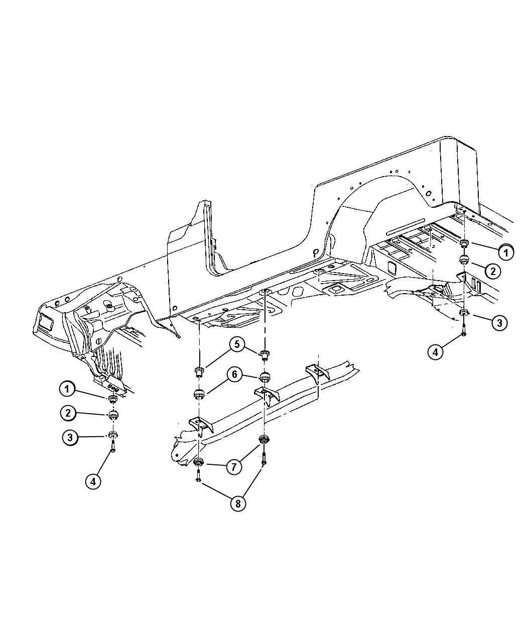 Jeep Wrangler Insulator. Body hold down. Hardwarebody