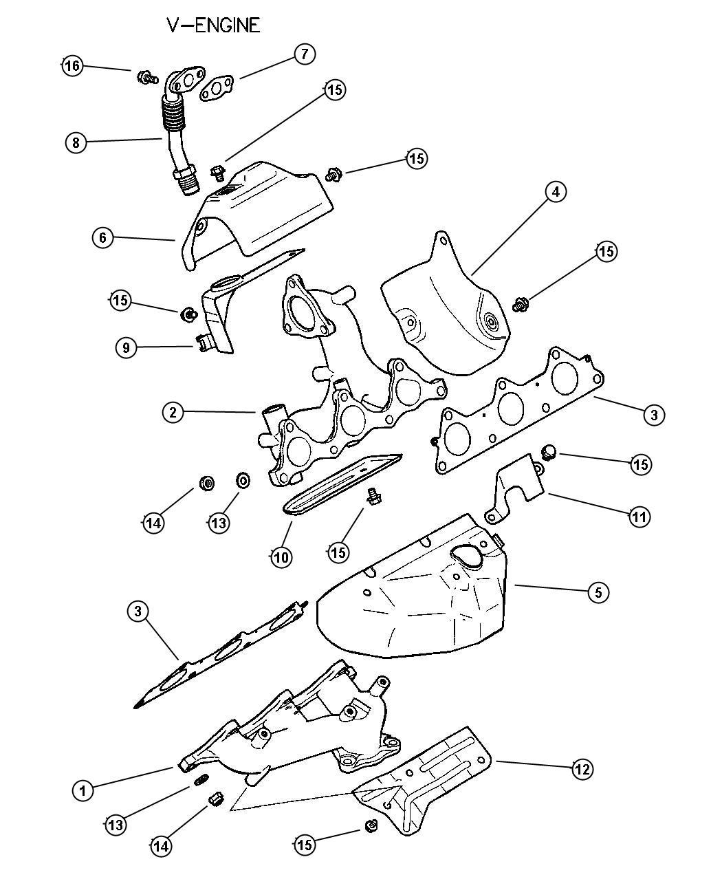 Dodge Caliber Gasket Egr Tube Flange Manif Exh Useries