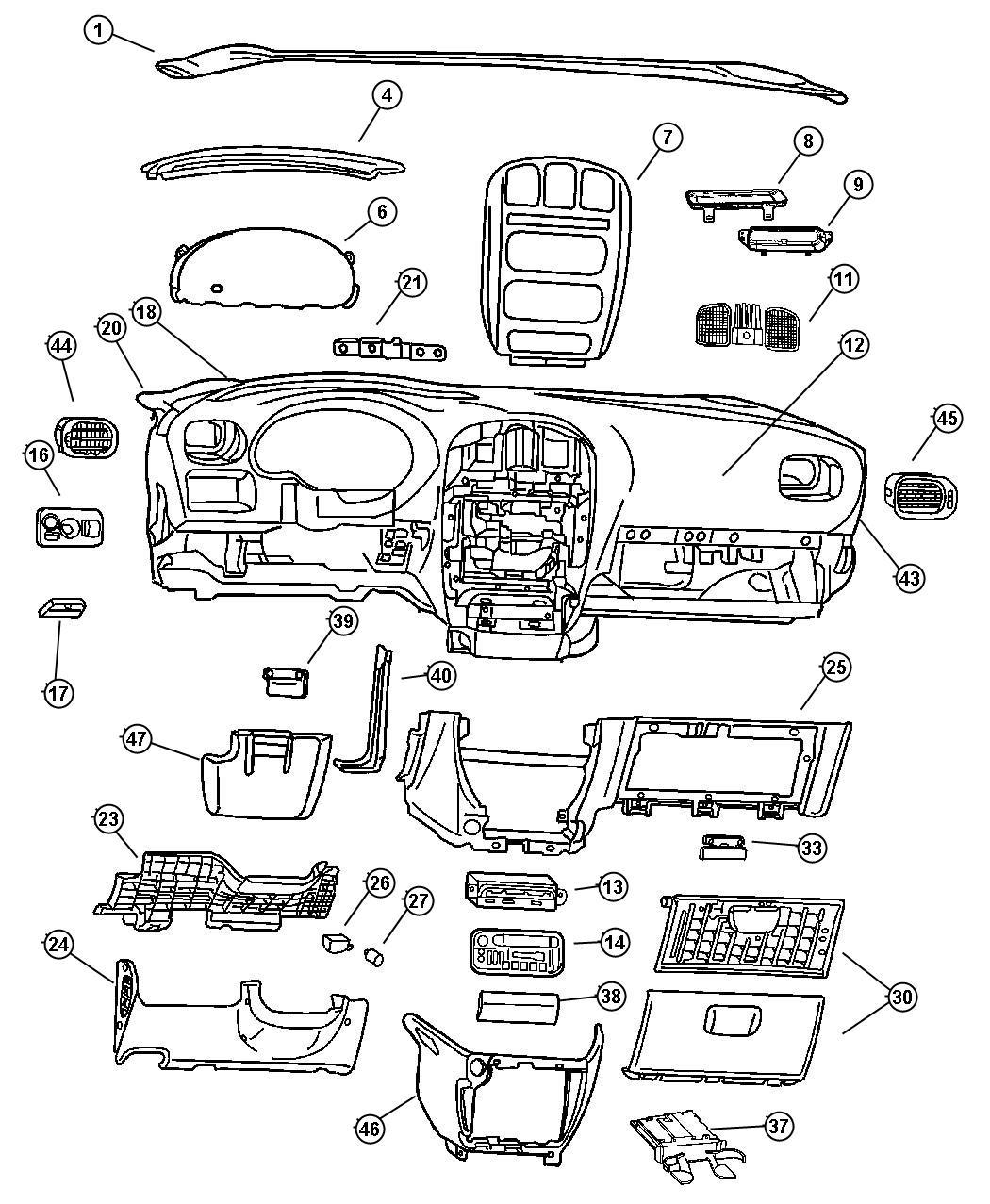 Dodge Grand Caravan Module. Message center. [ql]. Trim