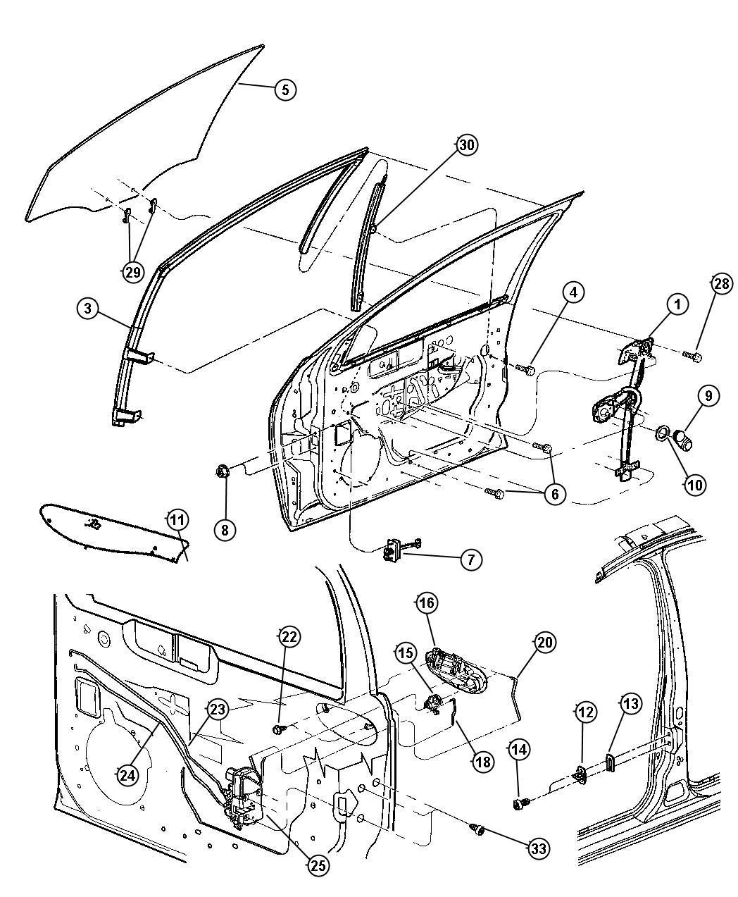 Dodge Neon Motor Window Regulator Right