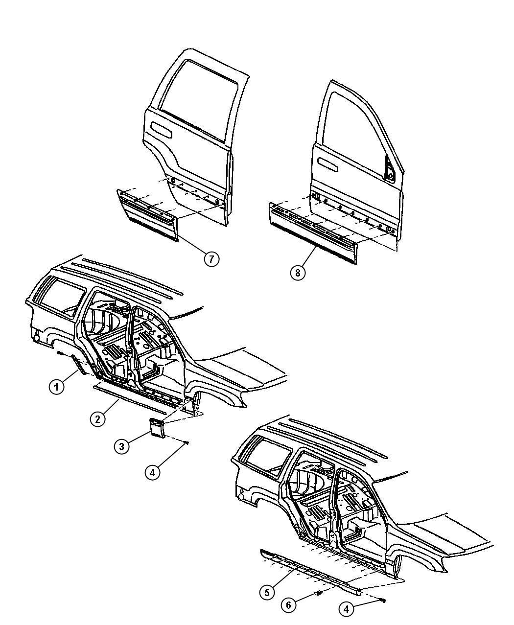 Jeep Grand Cherokee Molding. Sill cover. Left. Color: [no