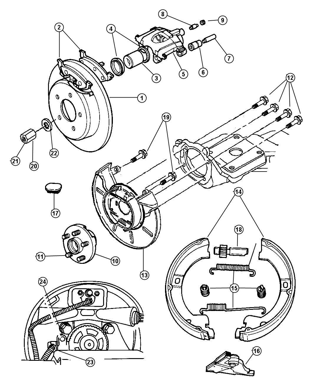 Dodge Grand Caravan Pad kit. Rear disc brake. Mexico only
