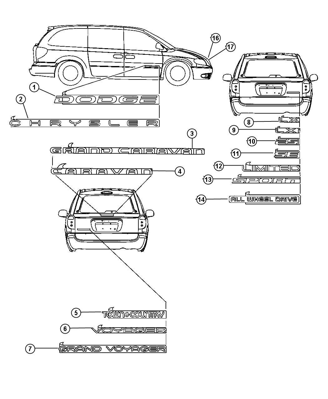 Dodge Caravan Nameplate Grand Voyager