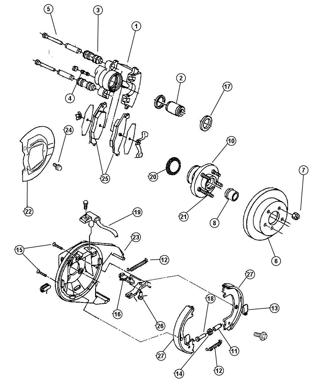 2001 Chrysler Shield. Brake. Left. Perfwheels, brakesall