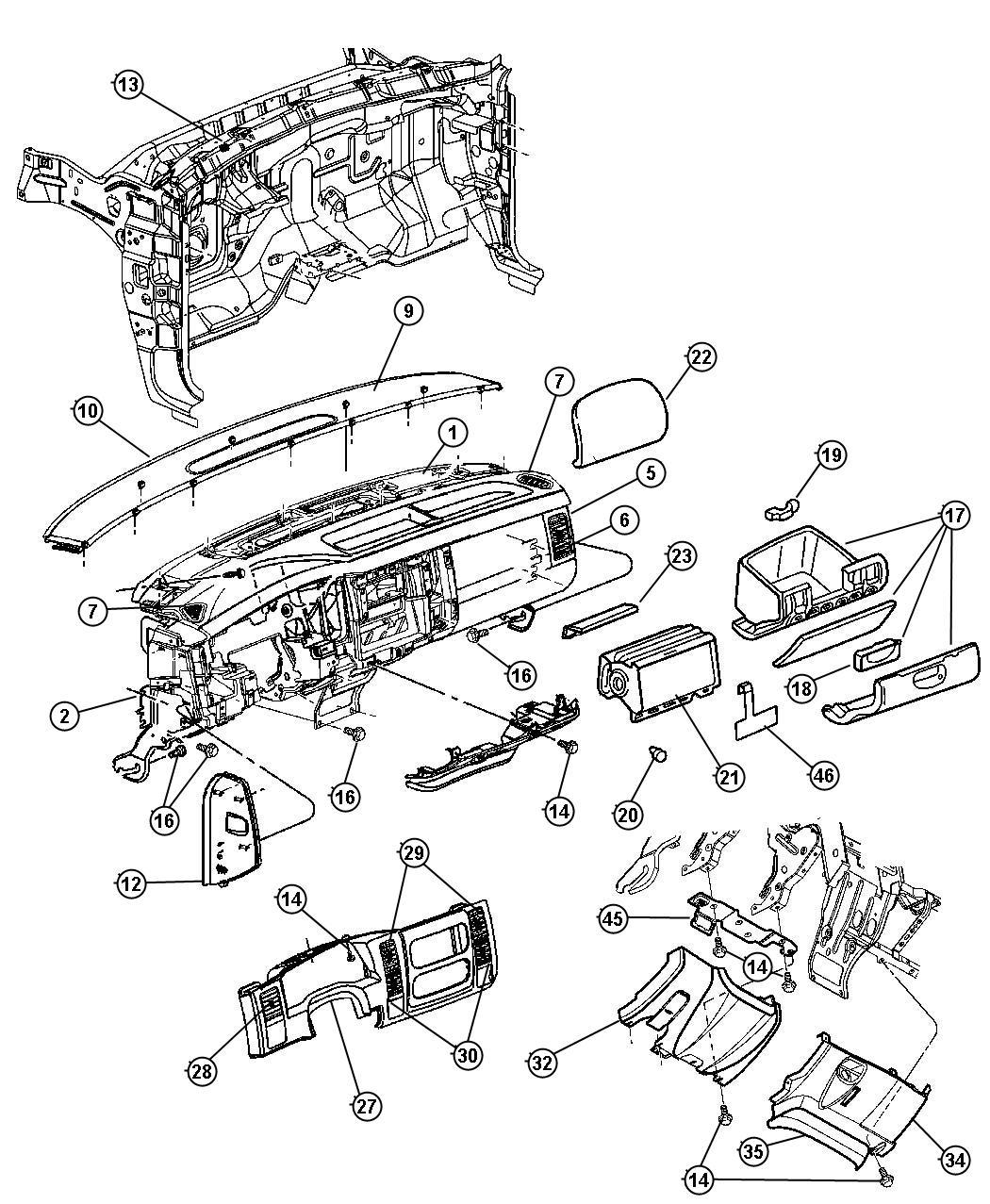 Dodge Durango Bezel. Instrument panel. Lower. [dl], [dv
