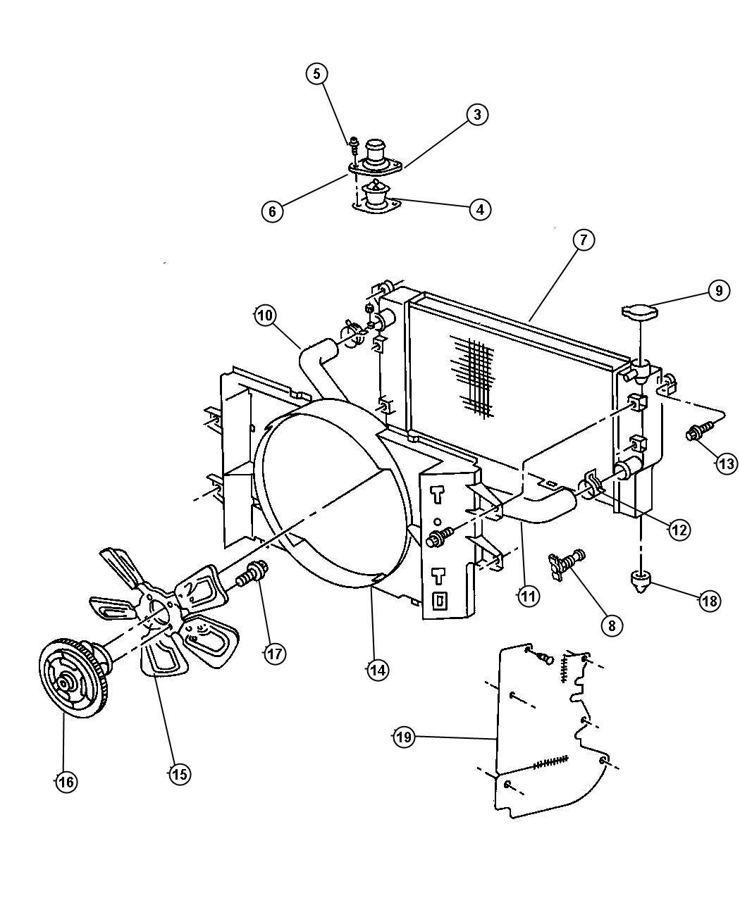 Housing.Thermostat Housing Dodge (90-03).Genuine Mopar