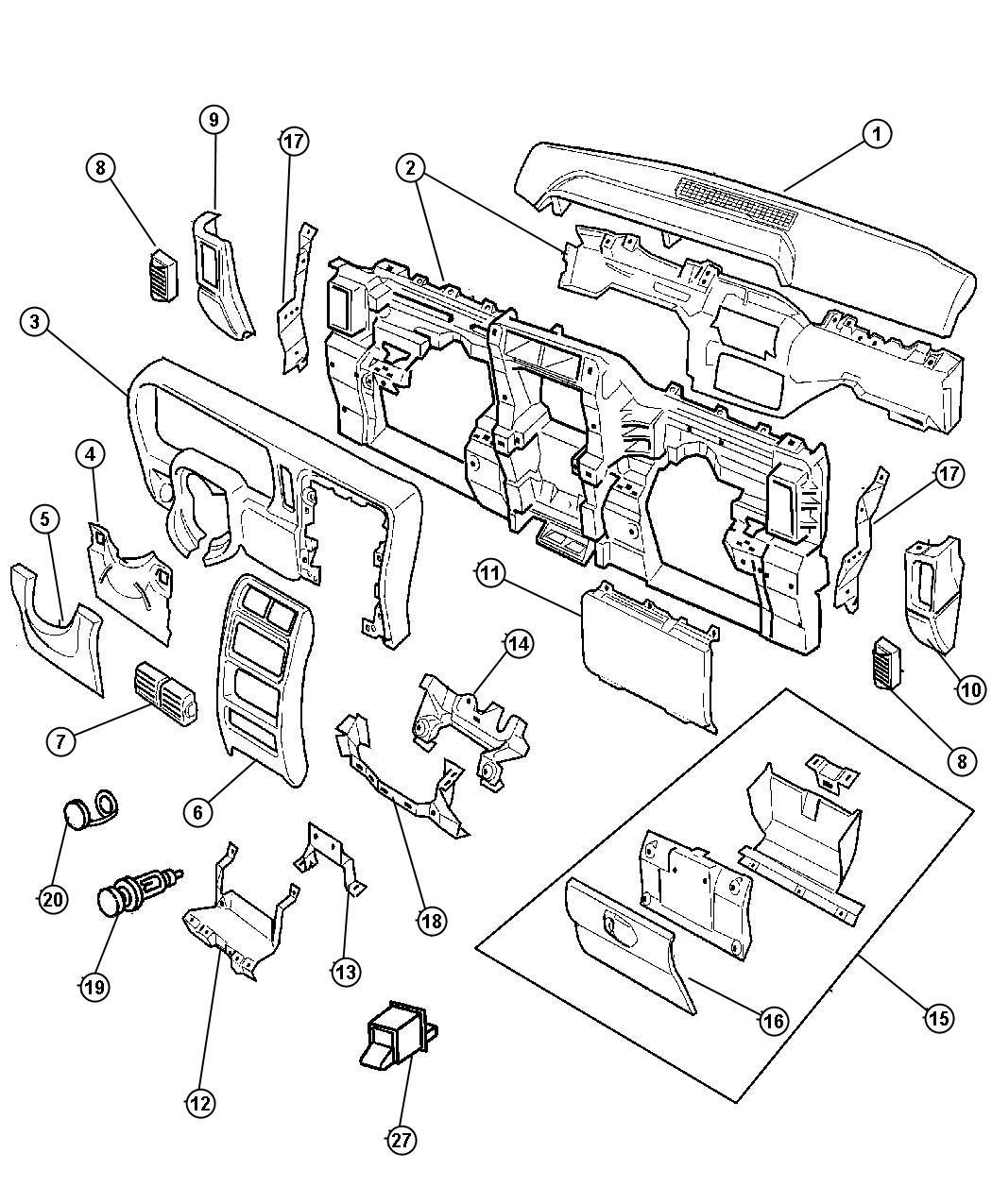 Jeep Cherokee Bezel. Switch. W/1 switch opening, w/rear