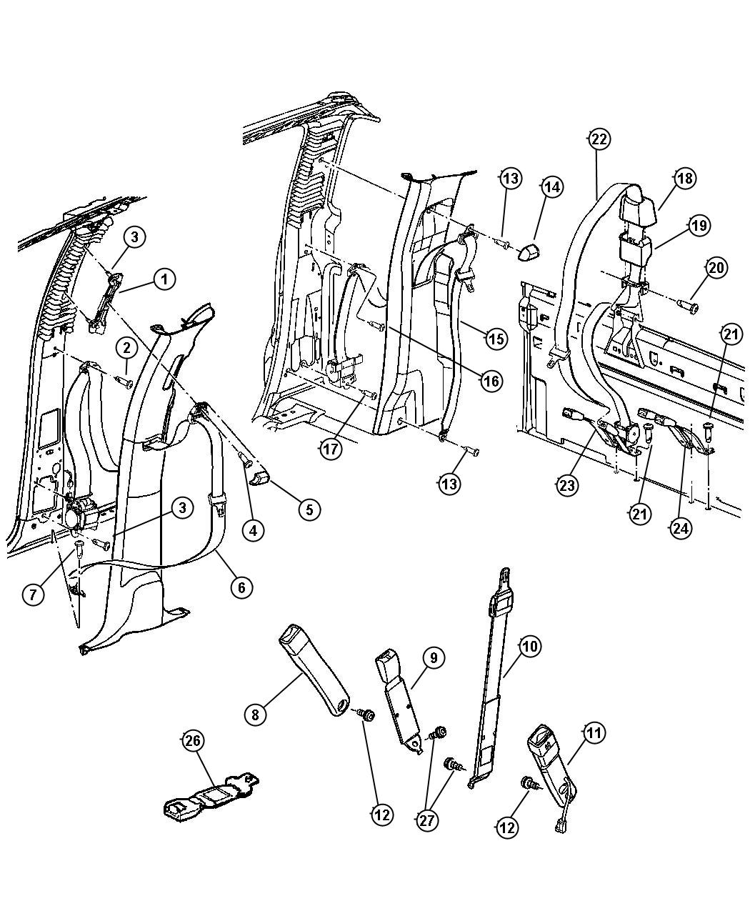 Dodge Ram 1500 Seat belt. Rear outer. [ql]. Trim: [all