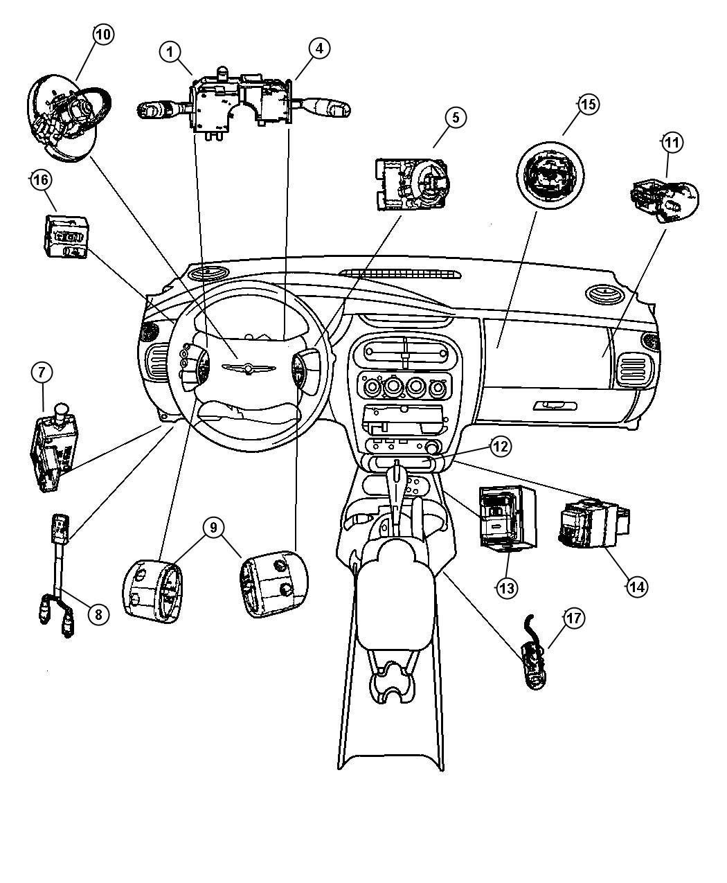 Dodge Neon Clockspring. Three circuit, three circuit