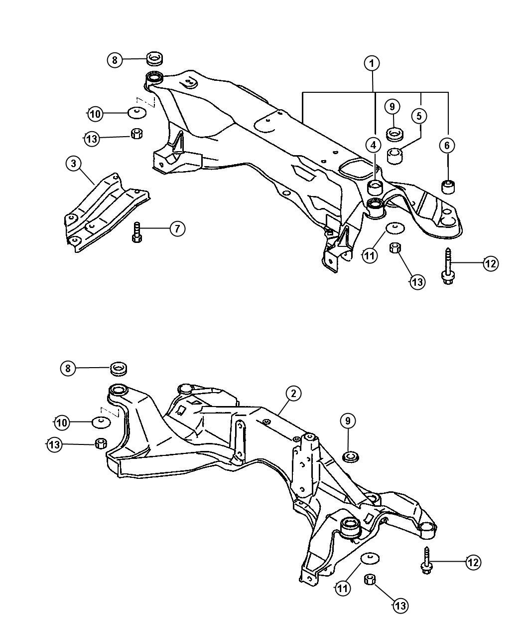 Dodge Stratus Stay. Front axle crossmember. Left, right. 2
