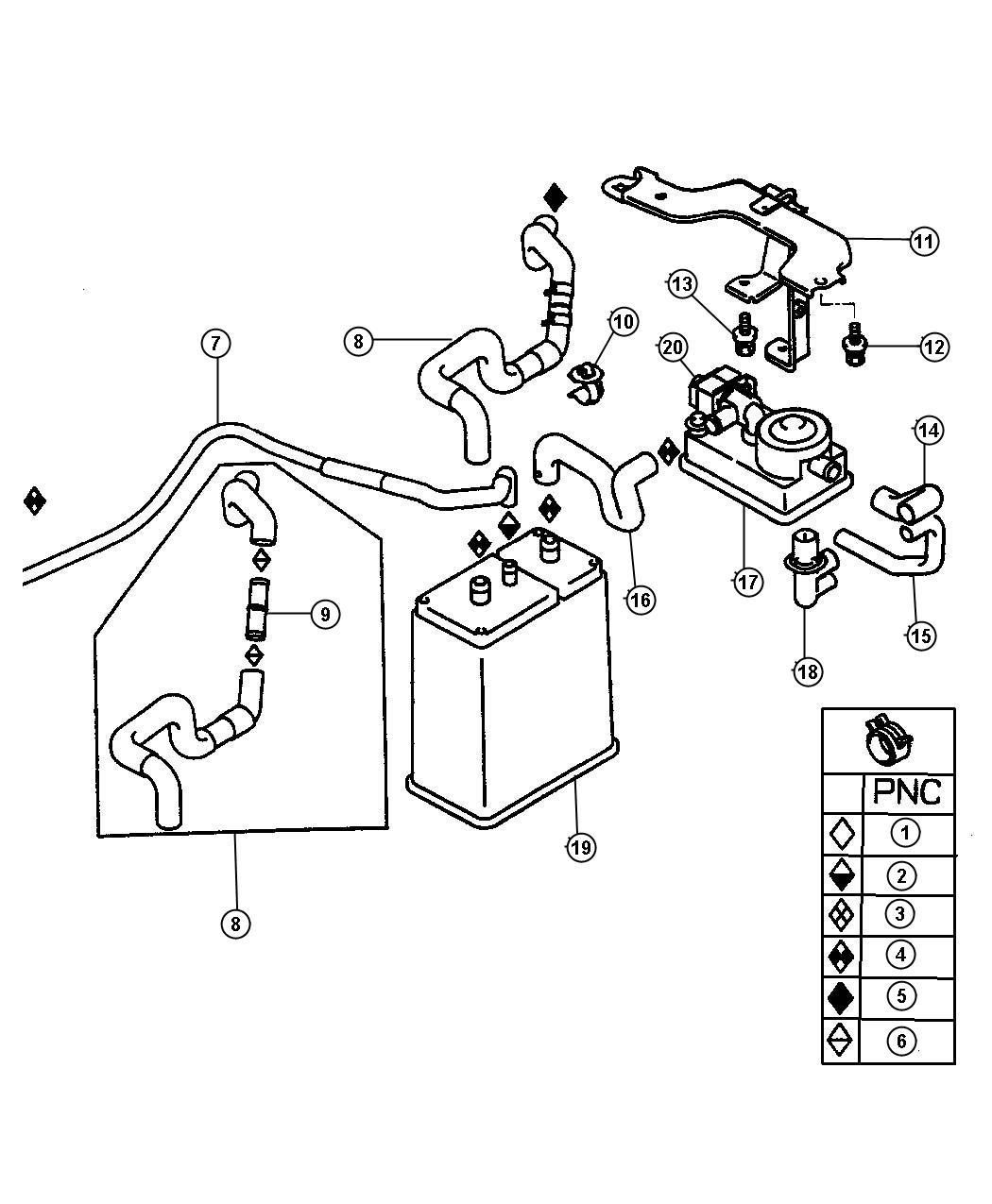 Dodge Stratus Valve. Fuel vapor control check. [lx], [lxi