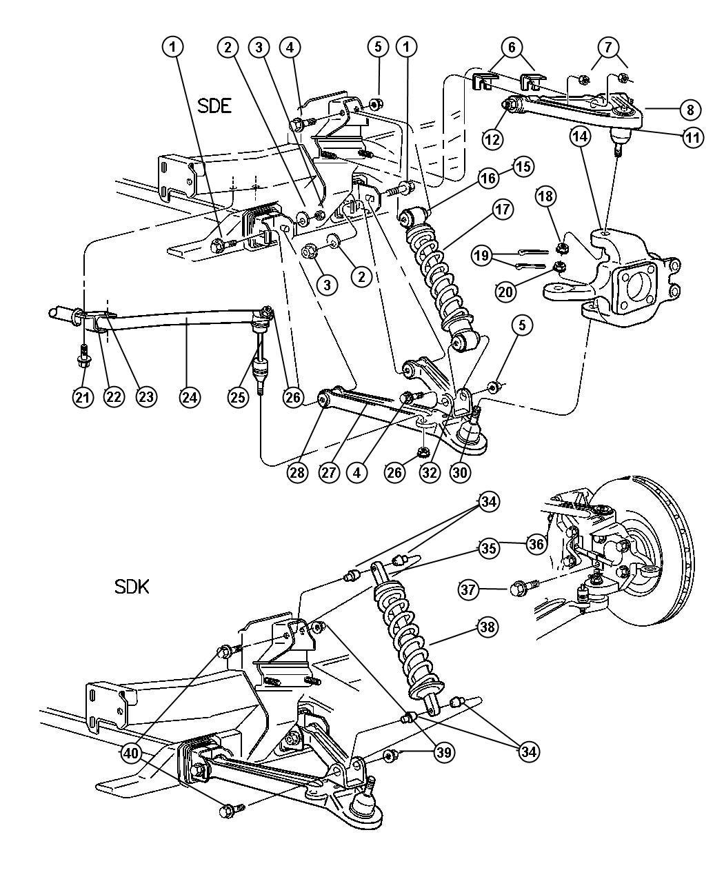 Dodge Viper Shock absorber. Suspension. Front. Right