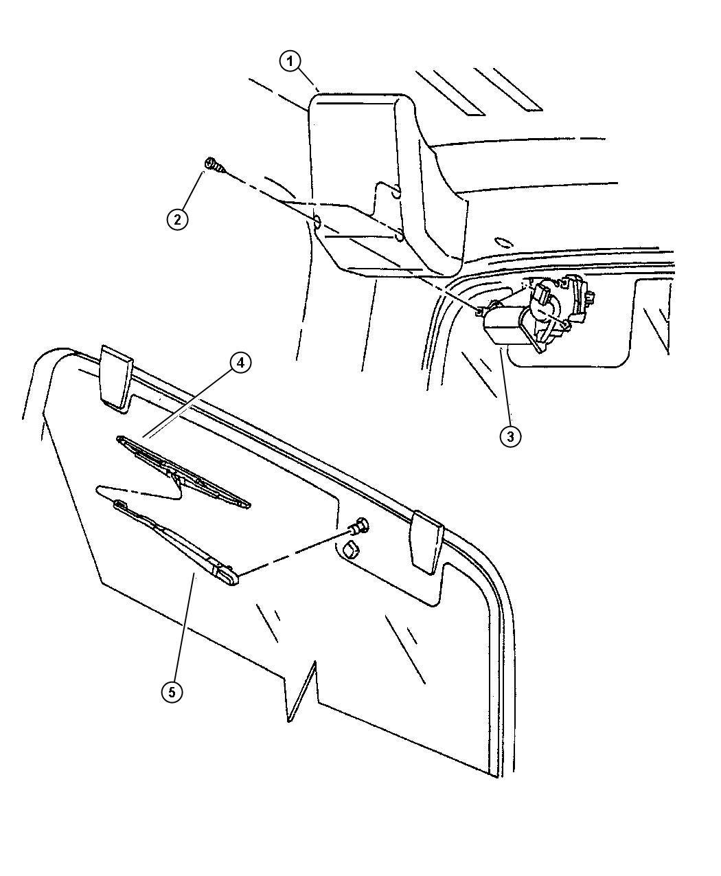 1997 Jeep Wrangler Nozzle. Liftgate washer. Rear wiper